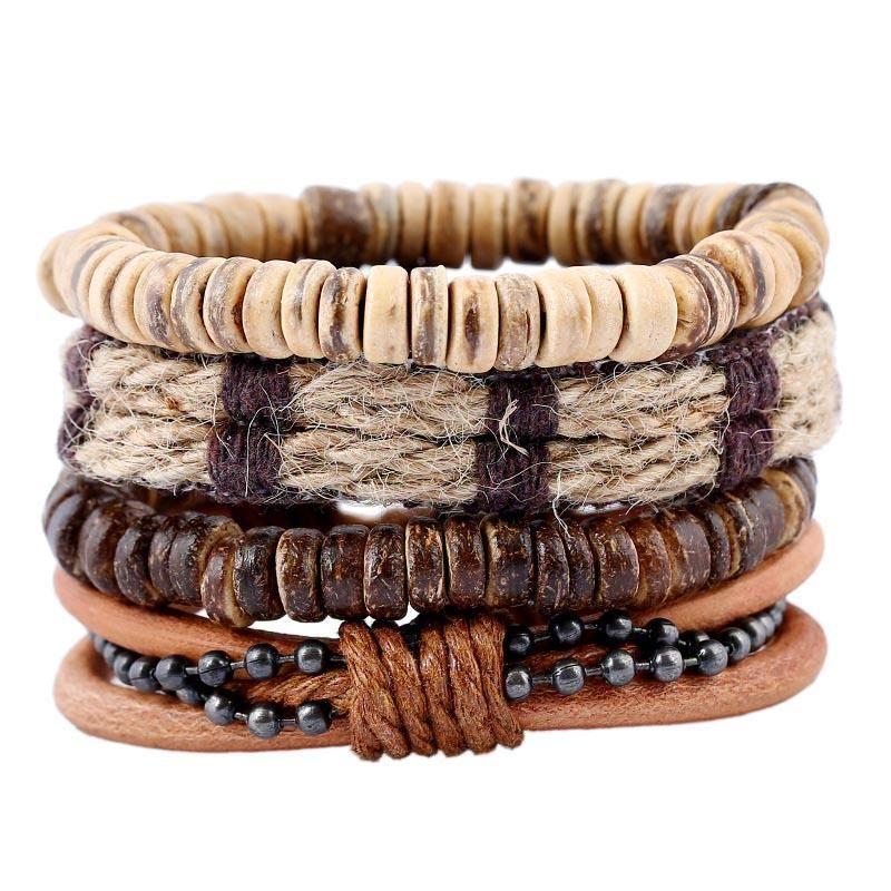 Браслеты очарования многослойные кожаные браслеты ретро DIY сплетенные кокосовые оболочки мужская веревка