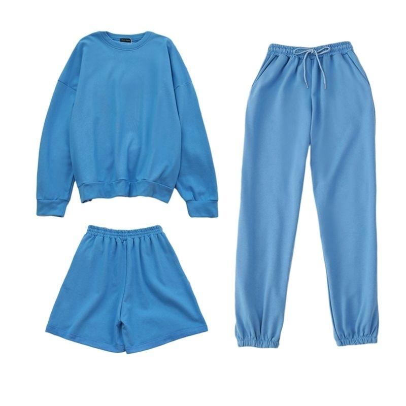 Vendu séparément Womens Tracksuits 3 pièces Sweat-shirt surdimensionné Spécial Sportif Shorts Sweat Sweat 3 pièces Outfit Set de couleur Solide 210714