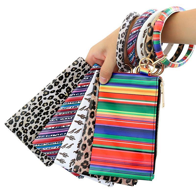 PU Keychain Armbänder Brieftasche Frau Handtasche Leder Quaste Anhänger Handtasche Leopard Sonnenblume Drucken Armband Damen Tasche Geschenk