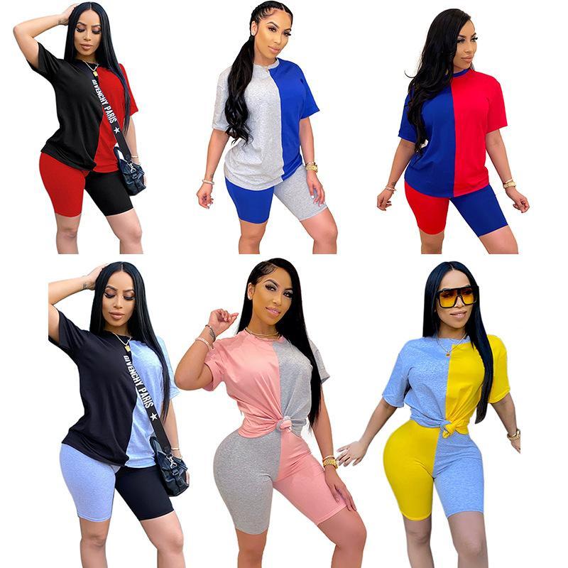 Frauen zwei Stück Sets 2 Stück Hosen Shorts + Tops T-shirt Trainingsanzüge Anzug Kurzarm Rundhalsausschnitt Täfelte Farbe Kontrast Casual Sexy Plus Größe XS / S / M / L / XL / 2XL / 3XL / 4XL / 5XL