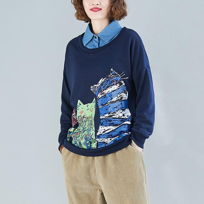 Women's Hoodies & Sweatshirts Cute Kawaii Cat Cartoon Sweatshirt Pullovers Turn Down Collar Autumn Harajuku Long Sleeved Navy Tops Faux Two