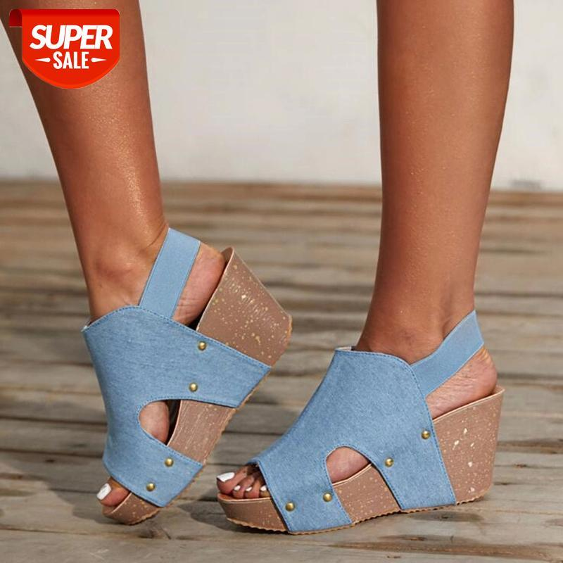 Women Sandals Fish Mouth Platform High Heels Wedge summer Shoes Flat Bottom Slip-On Slope #A86l
