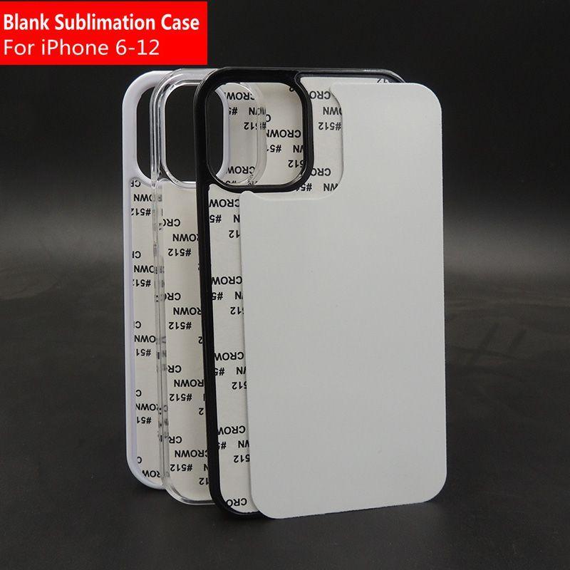 Чистые 2D Sublimation TPU PC Case Case для iPhone 11 12 Pro Max 6 7 8 XR XS Case с алюминиевыми вставками