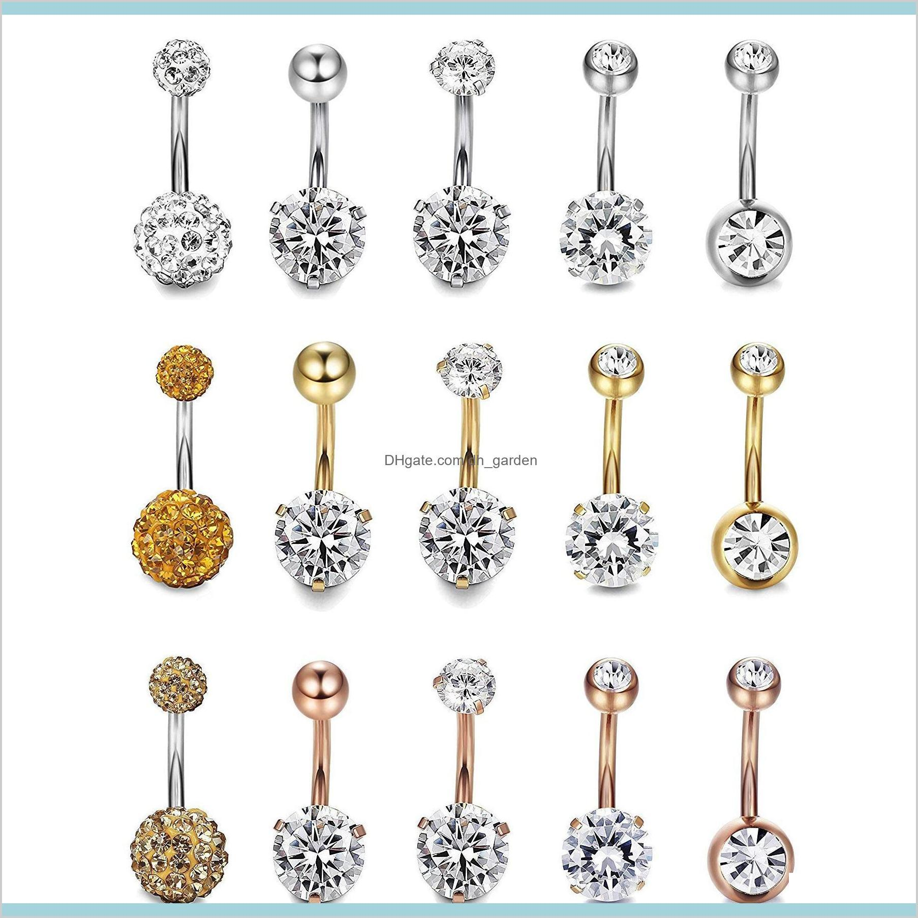 5Pcsset Round Love Heart Cute Crystal Body Jewelry Piercings Stainless Steel Rhinestone Piercing For Women Pakfa Q8Bc2