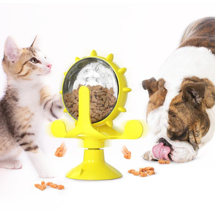 Windmills Leaky Cat Food Ball Toy Cats Turntable Bucket Implement Windmill Dog Pet Products WY1319