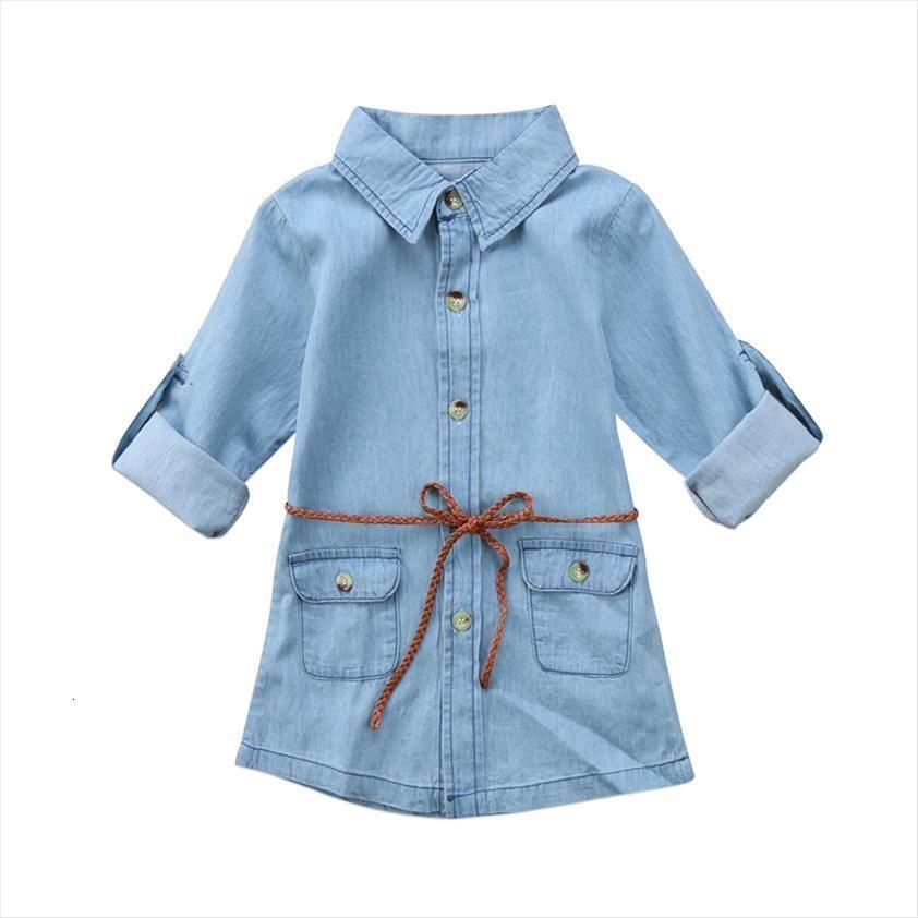 ABD stok ücretsiz moda bebek kız elbise çocuklar denim kısa mini jean uzun kollu rahat parti gömlek