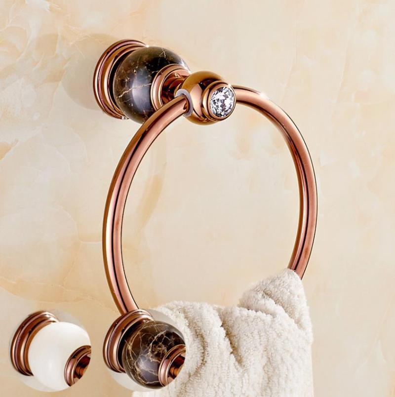 옥 수건 반지 구리 로즈 골드 천연 대리석 유럽 교수형 욕실 장식 반지