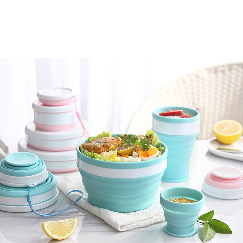 Foldable Camping Tableware Dinnerware Set Portable Folding Bowl Plate Cup Travel