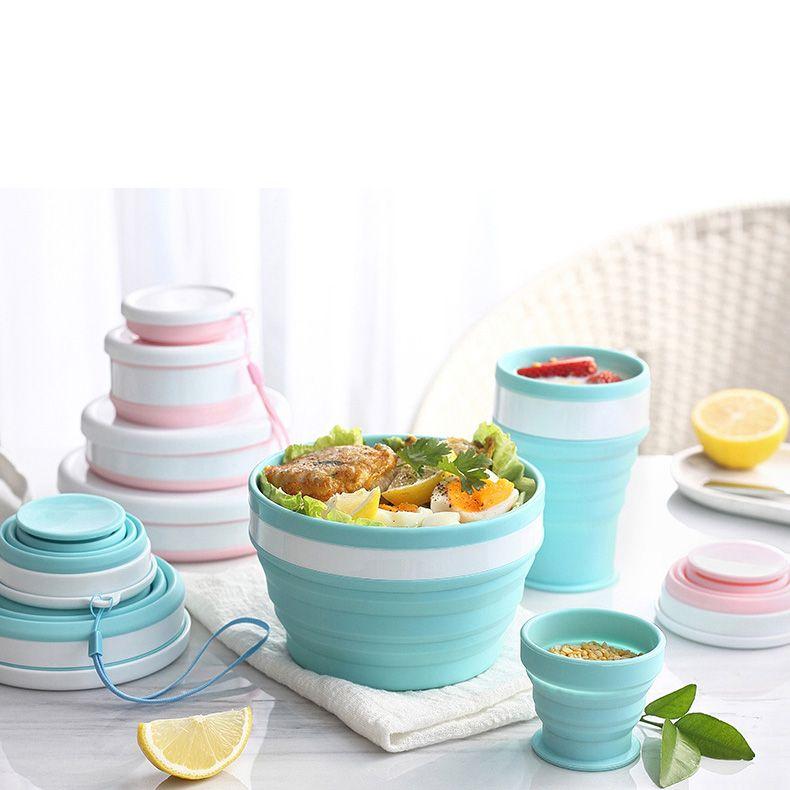 المحمولة سيليكون وعاء كأس أواني الطعام للسفر الطوي الأطباق أدوات الطبخ الغذاء الصف المواد CPA3425