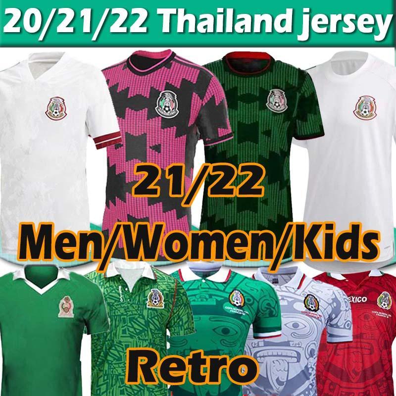 2021 México Futebol Jerseys Copa América Fans Versão do Jogador Camiseta 20 21 Chicharito Retro Lozano dos Santos 86 94 95 98 Jersey Jersey Homens Mulheres Kit Kit Maillots
