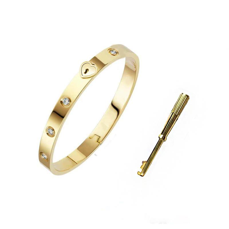 الكلاسيكية عالية الجودة الذهب الإسورة للمرأة مصمم الفاخرة مجوهرات النساء سوار الكامل من الصلب مع الكريستال luxusuhr 18 كيلو الرجال أساور سلسلة