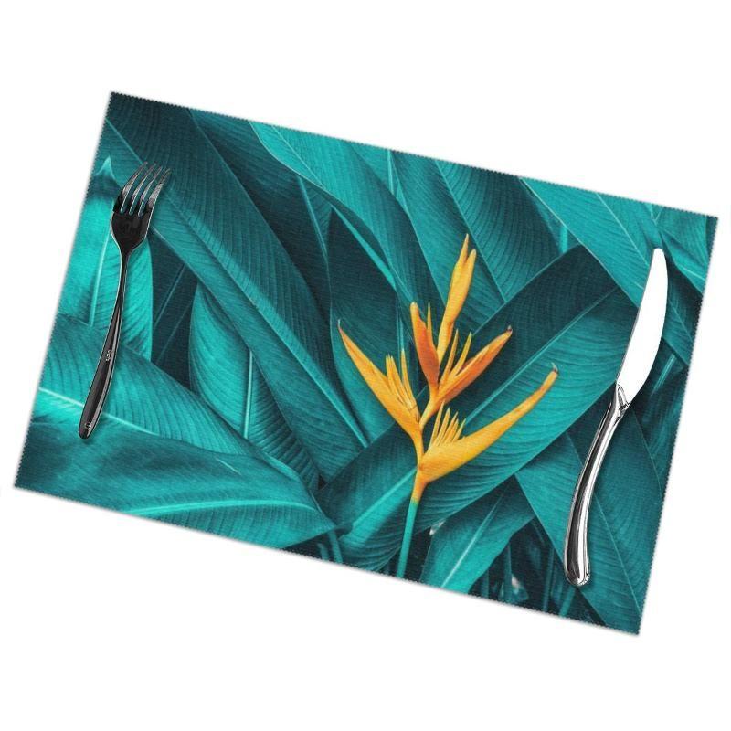 Mats Pads 6 PCS Placemat Colorful Flower en la herramienta de la cocina de la mesa de la mesa de la mesa de la mesa de follaje tropical oscuro