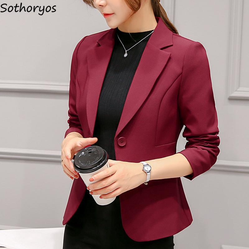 Blazers Women Single Button Elegant Womens Pockets Office Lady Leisure High Quality Slim Blazer Harajuku Clothes Simple Women's Suits &