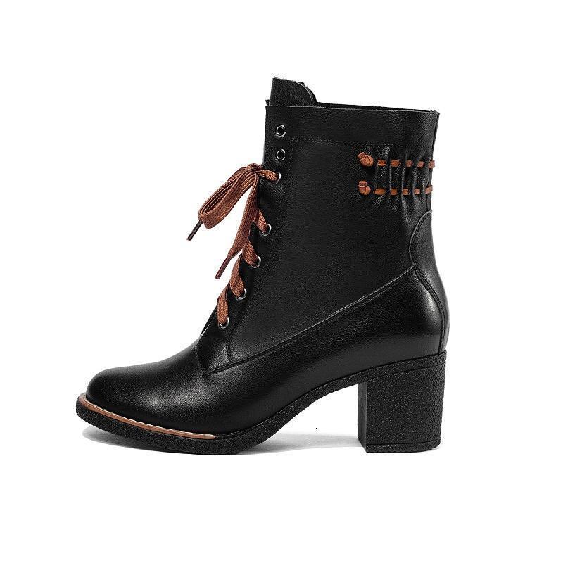 Botlar Orijinal Niyet Şık Kadınlar Ayak Bileği Gerçek Deri Tıknaz Topuklu Moda Siyah Kahverengi Ayakkabı Kadın Boyutu 5-9.51 R5GP