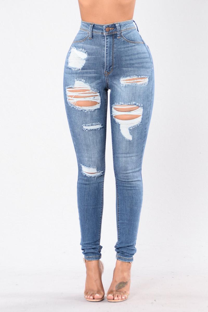 Hohe Taille Mutter Jeans für Frauen Skinny Denim Freund Distressed Ripping Frau Bleistift Elastische Hosen Streetwear Damen
