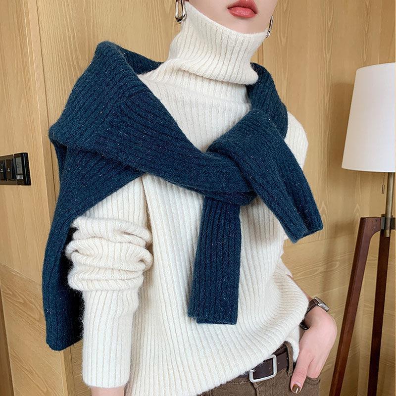 Frauen Herbst Winter Elegante Pullover Lady Slim Rollkragen Langarm Pullover Weibliche Lässige Massive Lose Gestrickte Jumper D190 Frauenpullover