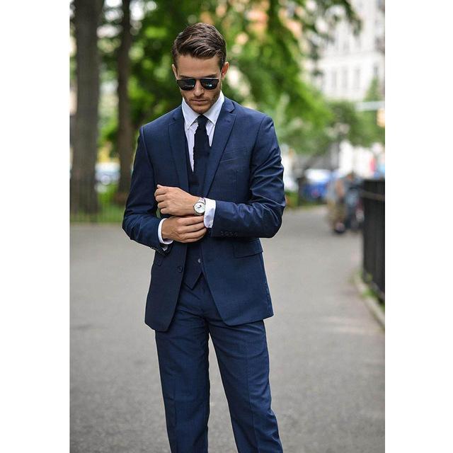 Abiti da uomo Blazers 2021 Casual Classic Men Dark Blu Slim Fit Suit Prom Wedding Groomsmen Greomo Tuxedo (Giacca + Pants + Vest)