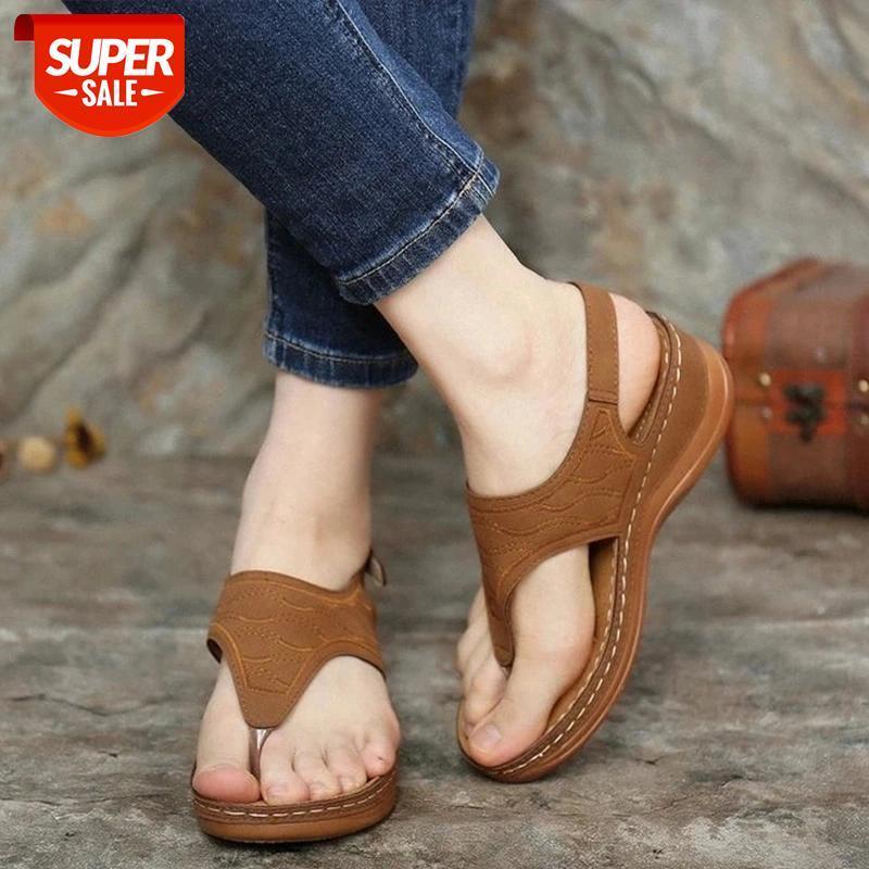 Retro Women Sandals Leather Ladies Clip Toe Wedges Shoes 2021 Fashion Embroidery Platform Casual Roman Female Sandalias De Mujer #VG25