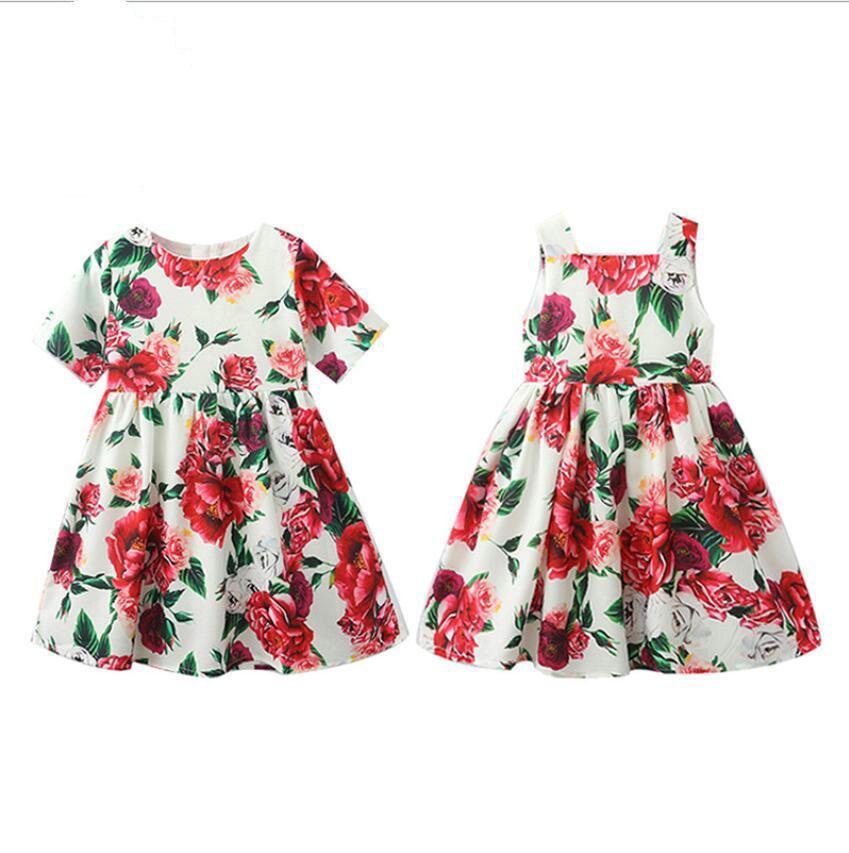 Commerce de détail / en gros bébé filles roses fleur à manches courtes halter soirée robes de soirée enfants volants floral robe princesse robe enfants designer boutique vêtements vêtements vêtements