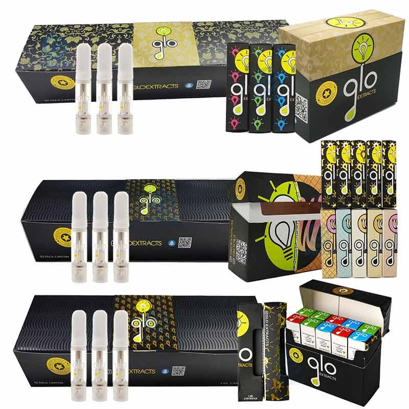 High quality GLO Vape Cartridges Atomizers kits 0.8ml 1ml Ceramic coil Thick Oil Dab Wax Vaporizer Carts Atomizer E Cigarettes 510 Thread Empty
