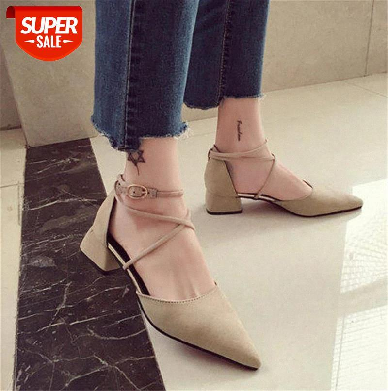 Suede Square heel pumps women shoes 2019 summer Fashion Pointed Toe Buckle Strap sandals Riband Flock female #Xx3m