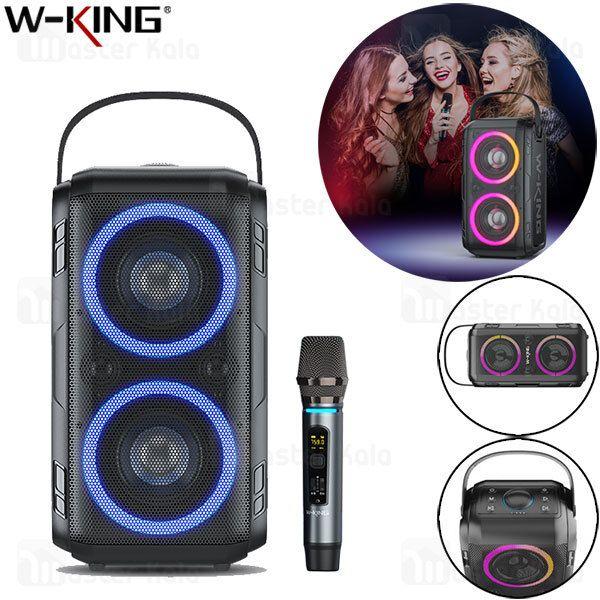 W-King T9 Karaoke Bluetooth RGB LED altavoz de alta potencia al aire libre Alto altavoz portátil TWS altavoces Soporte TF Tarjeta, disco USB, Micrófono inalámbrico para TV, Hogar, Fiesta