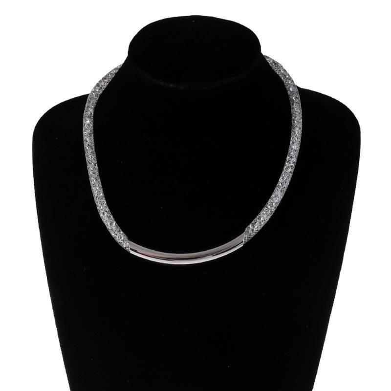 Мода Ювелирные Изделия Кристаллическая проволочная сетка Чистая Трубка Коллекция Ожерелье Цепи внутри Bling Женщин Леди Сети