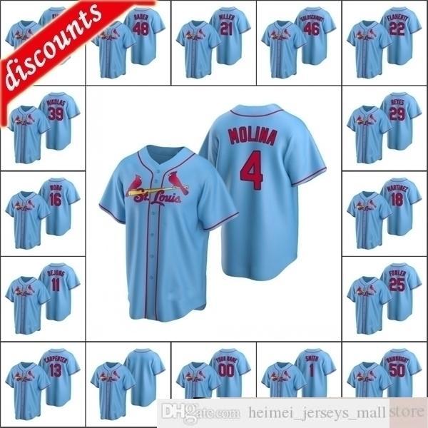 2021 hombres # 22 Jack Flaherty 1 Ozzie Smith Jerseys de béisbol cosido 4 Yadier Molina Custom Women Youth Kids Light Blue Jersey Alternativo