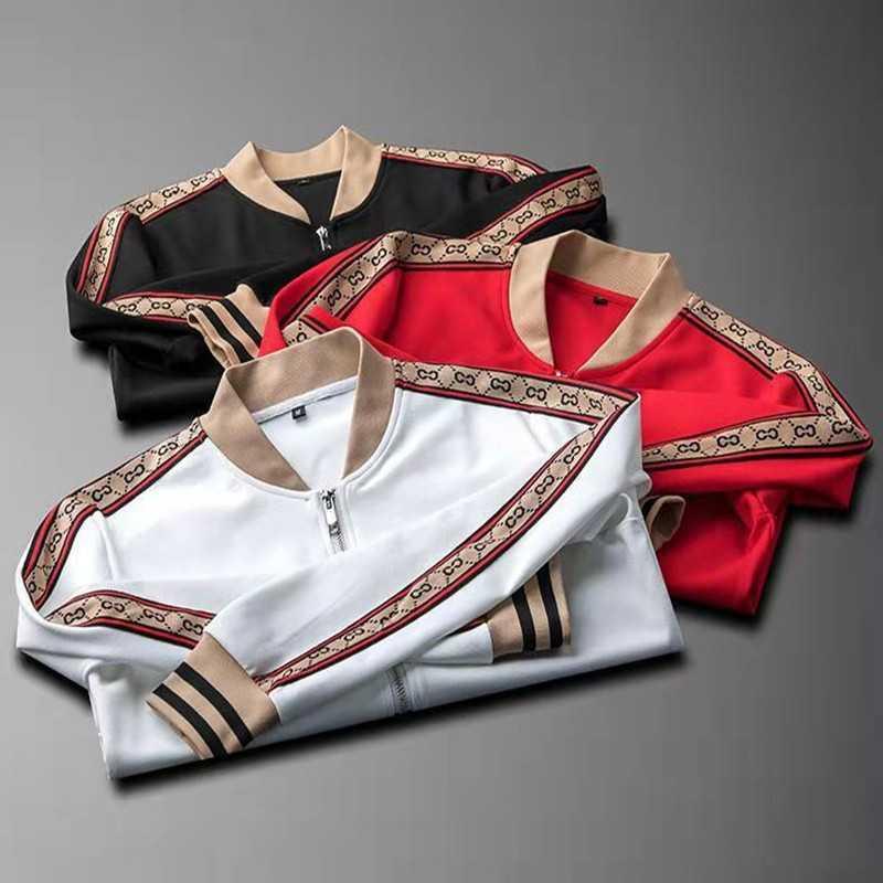 Chándal de los hombres Camisa de traje casual de color sólido y camisa de cremallera de otoño + pantalones de dos piezas de chándal de chándal de moda hombres 2