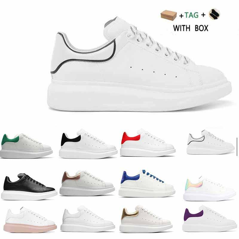 [С коробкой]Александр Маккуин Sneaker All White fashion luxury espadrille flat flats alexander mcqueens men mcqueen eoversized sneaker men women platform shoes baskets sneakers