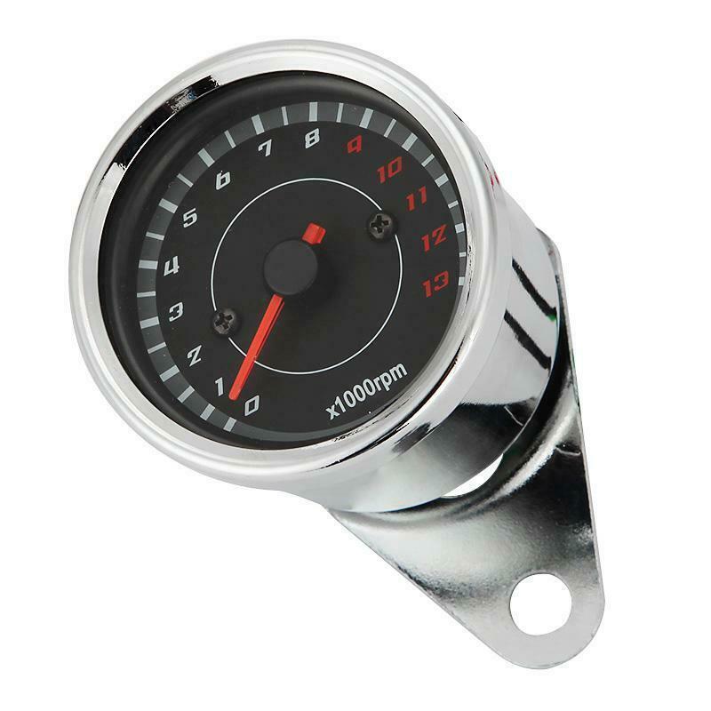 Universal Black Motorcycle Bike LED Backlight Tachometer Tacho Gauge 1000RPM