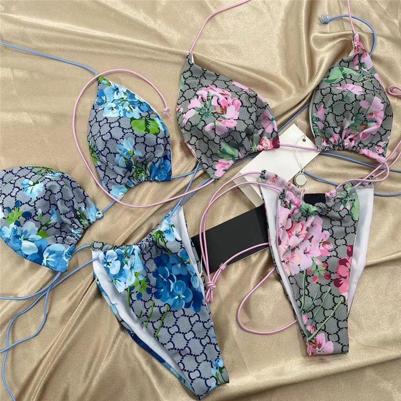 Nuova flora donne costumi da bagno classica lettera stampa signora due pezzi bikini 2 colori sexy ragazze abbigliamento da spiaggia