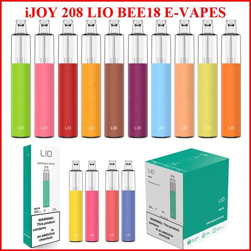 정통 IJOY 208 LIO BEE18 일회용 vape 펜 전자 담배 vapes 1000 퍼프 1000mAh 배터리 5.0ml 포드