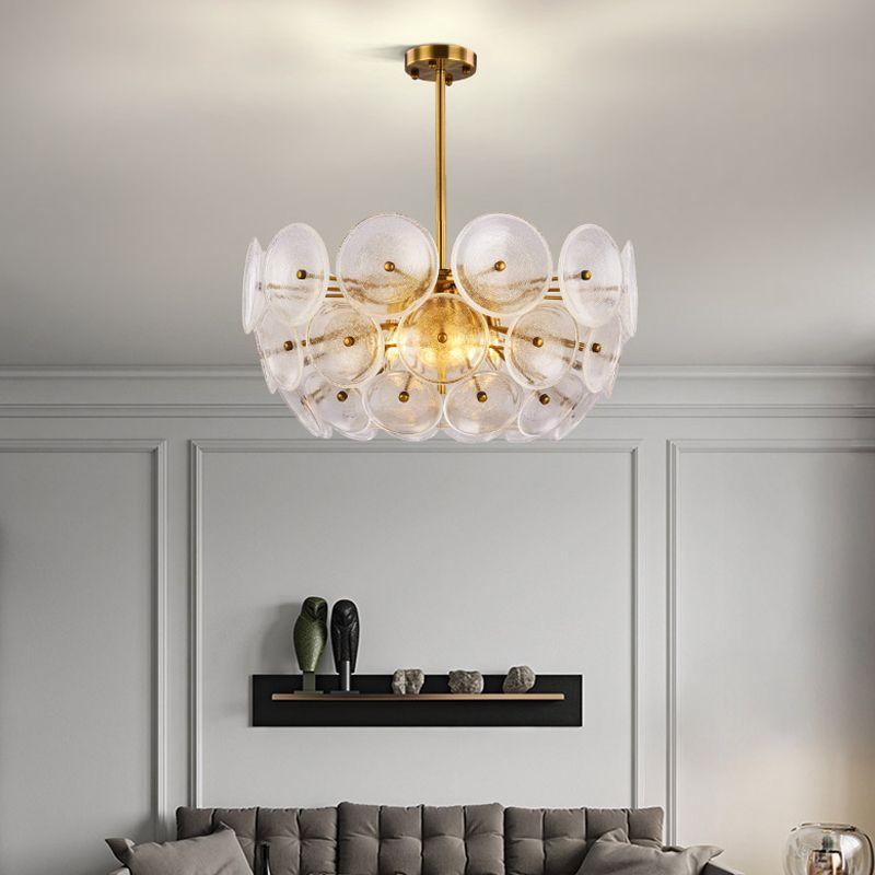 التصميم الحديث الذهب أدى الثريات الإضاءة جولة الزجاج الثريا مصباح غرفة المعيشة ديكور تعليق شنقا الإضاءة