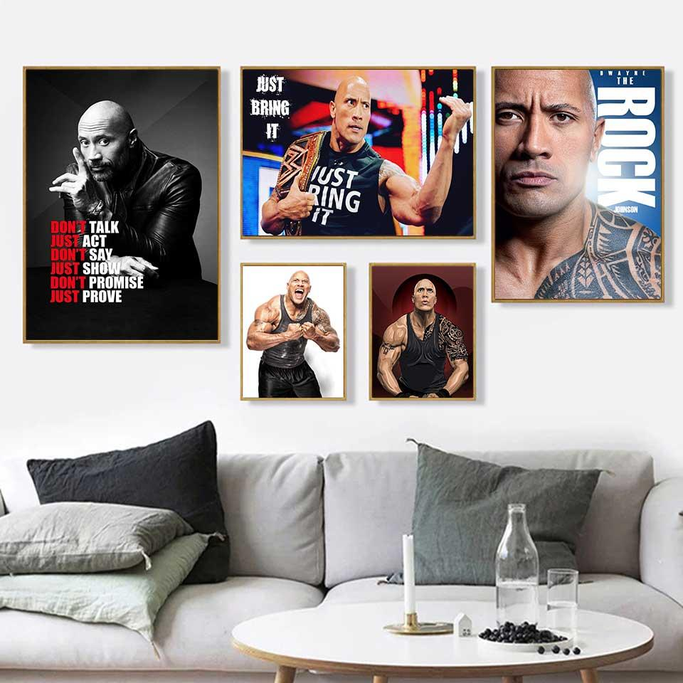 The Rock Dwayne Johnson Movie Actor Wrestler Fitness Wall Art Home Decor in Poster Print or Canvas