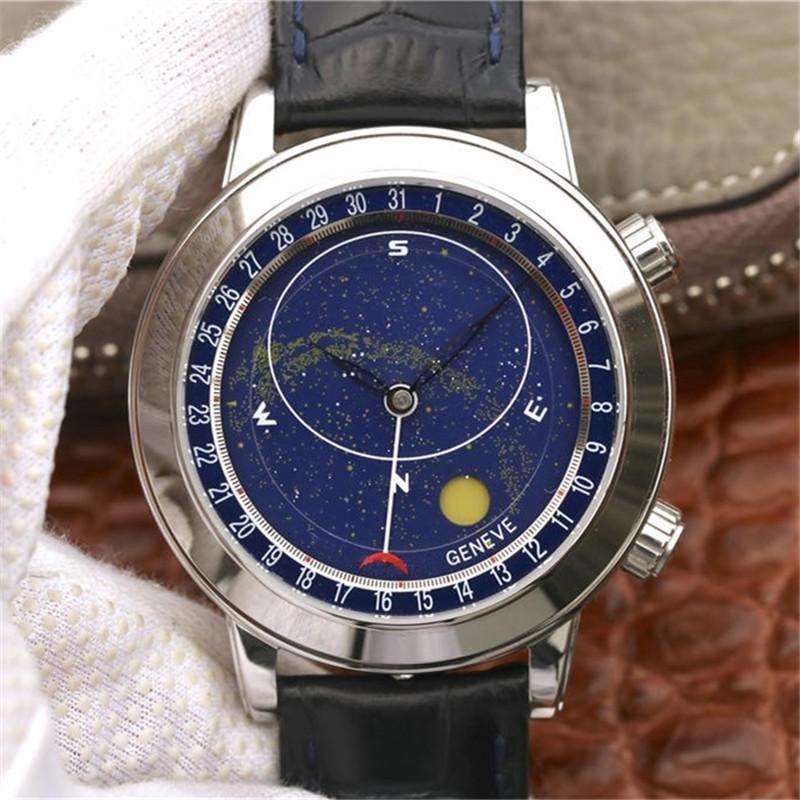 Armbanduhren Watch für Männer Komplizierungen Chronograph Automatische mechanische mechanische mechanische 6102P-001 Sternenhimmel 44mm Lederarmband 1: 1