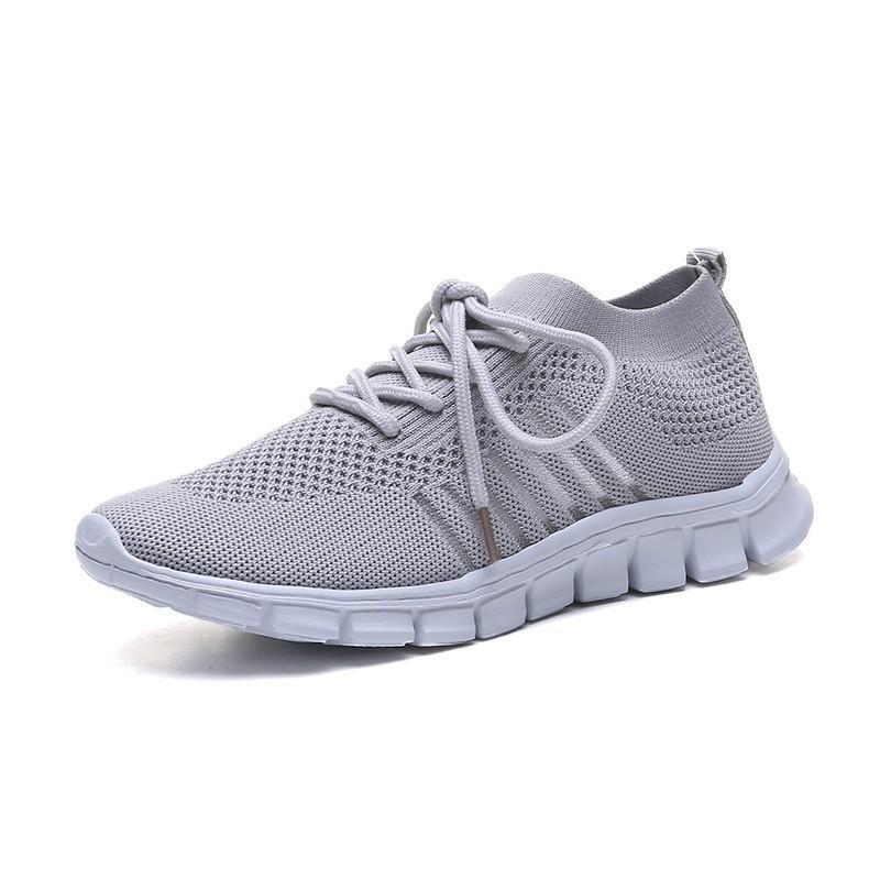 Primavera e verão de malha respirável sapatos cor sólida mulheres casuais sneakers lace-up flat-bottomed ao ar livre malha casual mulheres esporte sapatos