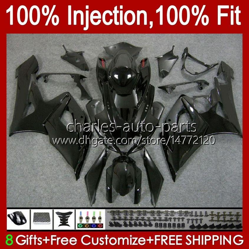 Body + Cowl for suzuki GSXR-1000 GSXR 1000 05 06 차체의 모든 광택 검정 11HC.25 GSX-R1000 GSXR1000 05 06 K5 GSX R1000 2005 2006 페어링 키트
