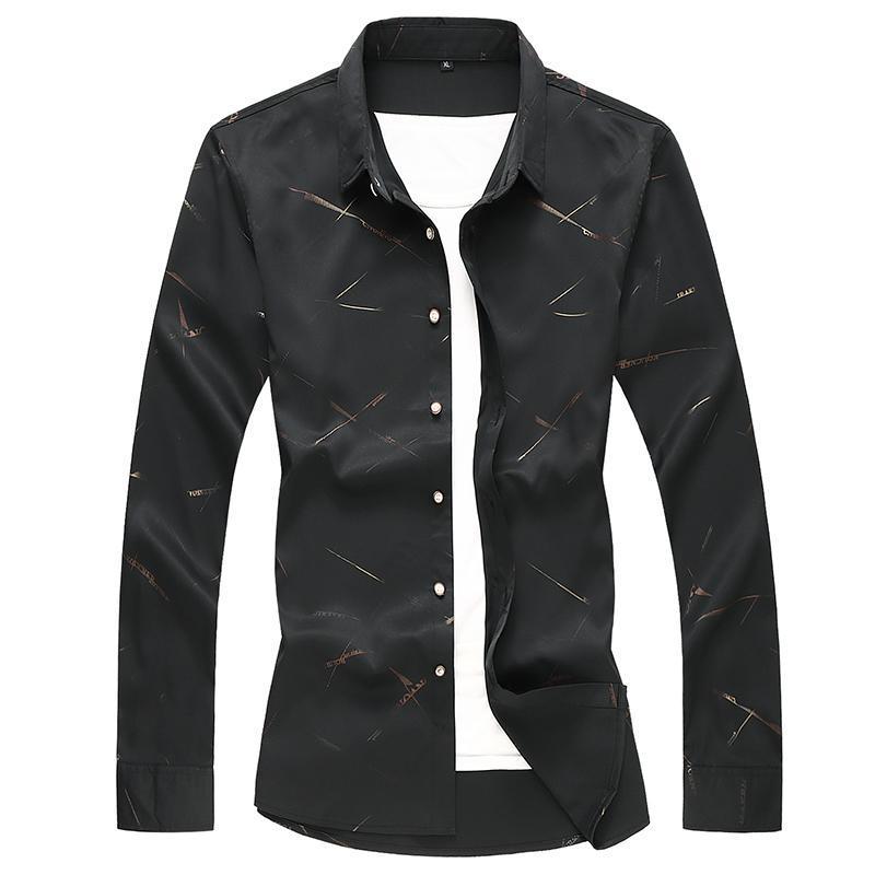 2021 년 제품, 남성 느슨한 긴팔 셔츠, 편지 인쇄 비즈니스 캐주얼 플러스 사이즈 5xl6xl 7xl 셔츠