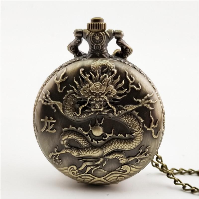 Relojes de bolsillo Antiguo Watchchinese Estilo nostálgico Gran Dragón Colgante 12 Zodiaco Hombres y artesanía para mujer Waumi3