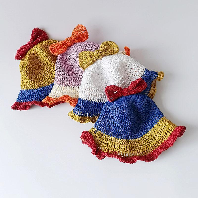 귀여운 밀 짚 모자 공주 밝은 색상 bowknot 프릴 소녀 부드러운 조정 가능한 야외 패션 플로피 모자