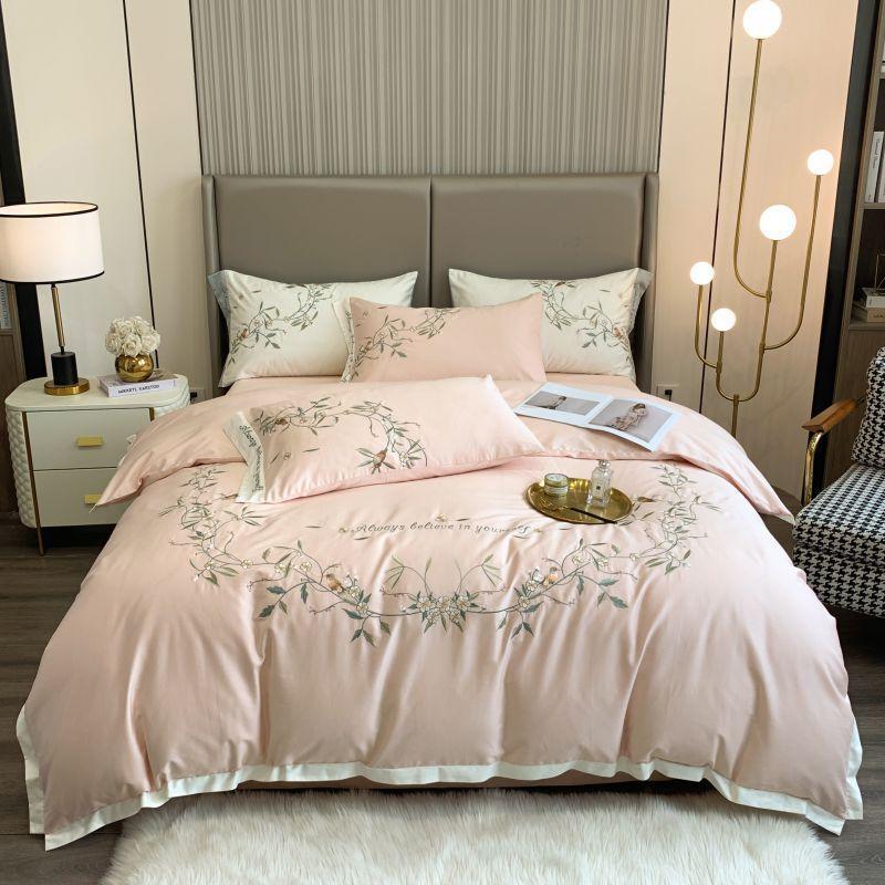 Bettwäsche-Sets Weiß Rosa Grüne Rebe Bettbezüge Bettwäsche Bettwäsche Euro-Bettwäsche 1000TC Ägyptische Baumwoll-Steppdecke Kissen Shams