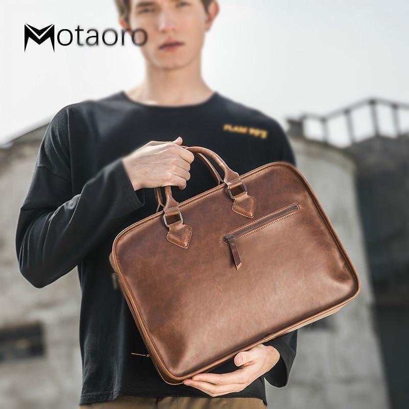 New Leather Men Pasta Negócios Vintage Brown Ombro Mens Bag Homem Escritório Sacos Para 13.3 polegadas Macbook Air Bolso Hombre q0112