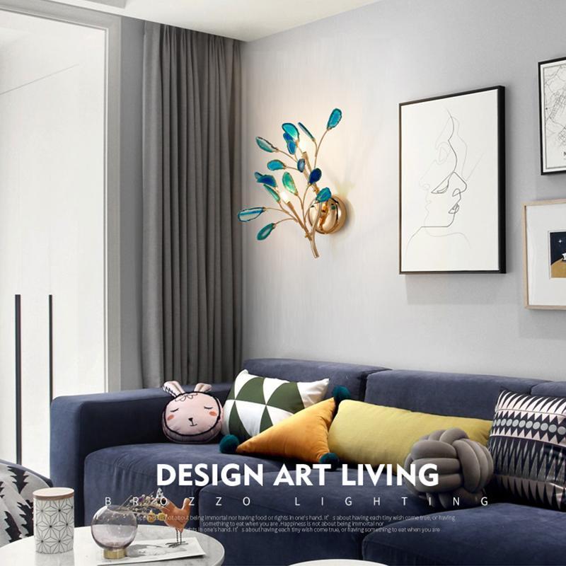 Lâmpada de parede moderna ágata cor quarto sala de estar corredor salão fundo ramos decoração luz de cabeceira