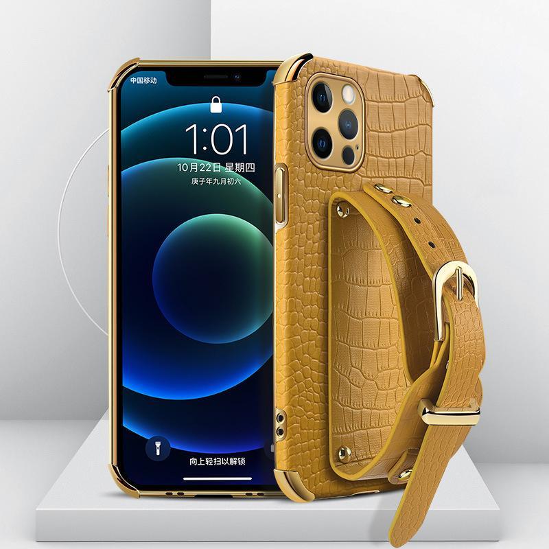 Krokodil-Muster-Armband-Halter-Fälle für iPhone 13 11 12 PRO MAX X XR XS 7 8 PLUS SE2020 Designer Schutzhülle Mode Stoßfest Anti-Herbst Dropshipping