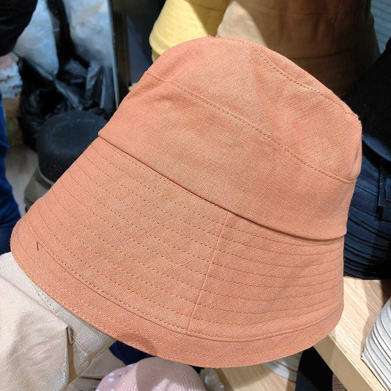 Face show small big eaves cotton and hemp fisherman's 2021 summer new solid color versatile casual cloth breathable sunshade hat