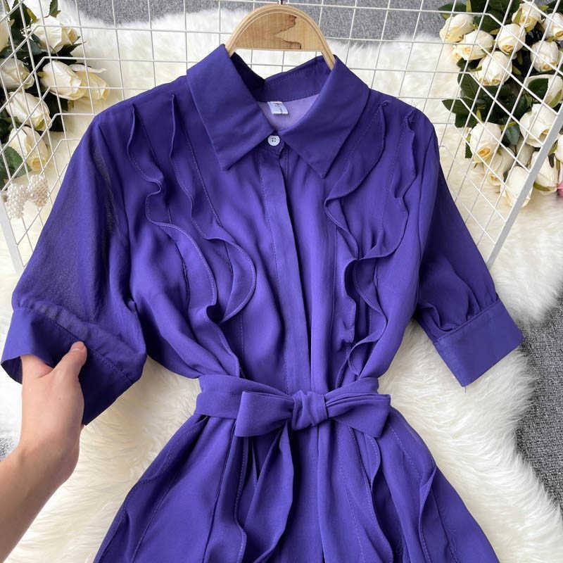 Vintage Lila Kleid Frauen Elegante Rüsche Umzugskragen Hohe Taille A-Line Casual Vestidos mit Schärpen Weibliche Sommer Plus Größe Y0603