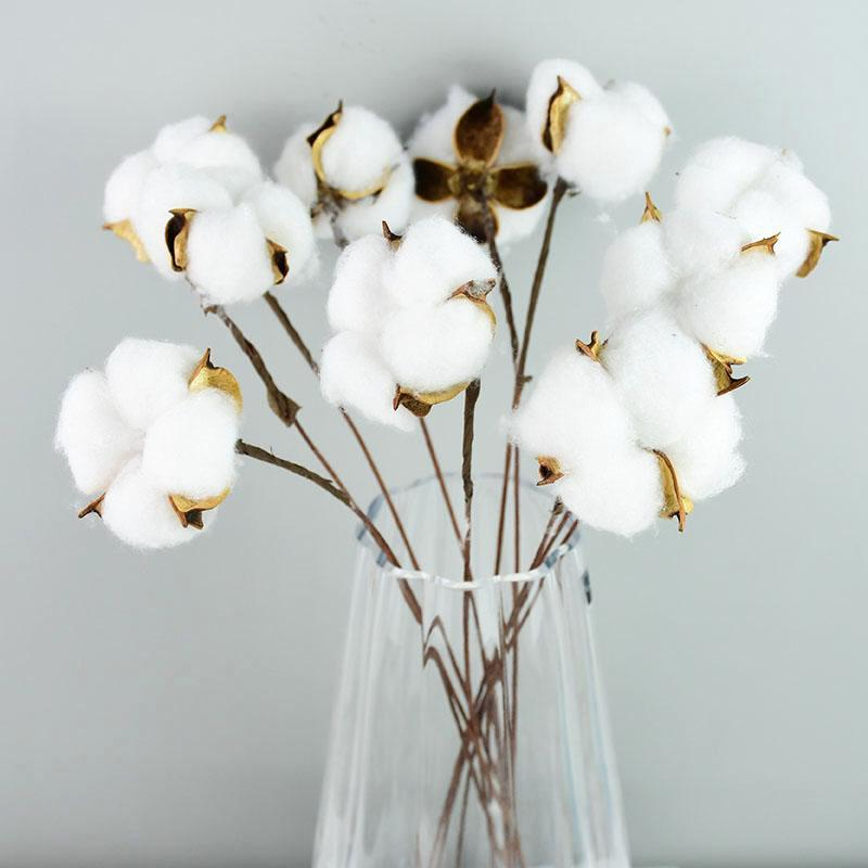 Decorative Flowers & Wreaths Naturally Dried Cotton White Home Artificial Floral Branch Wedding Bridesmaid Bouquet Decor Fake Flower
