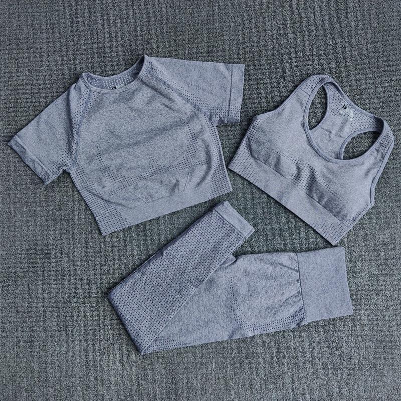 3 unids inconsútil para mujer ropa deportiva juego de yoga entrenamiento gimnasio ropa fitness manga corta cultivo top top altos cinturas leggings deportes trajes deportivos