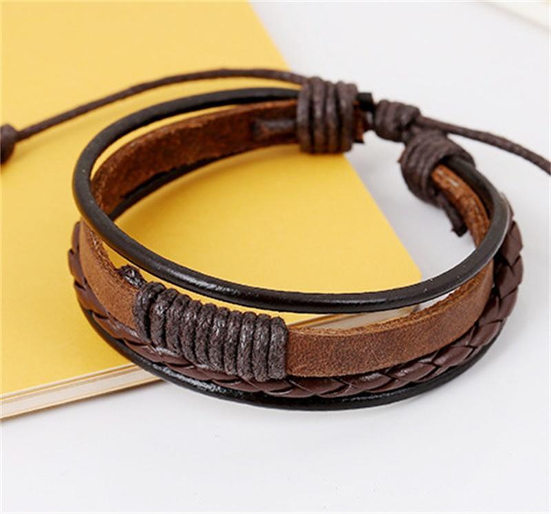 Moda trenzada Black Brown Cuero Hombre Charm Pulsera Diseño Hecho A Mano Hip Hop Jewelry Publibra Pulseras Para Hombres Regalo 246 W2